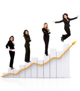 Business women on a chart